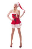 Portrait of  a young attractive sexy Santa girl Royalty Free Stock Photography