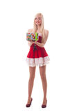 Portrait of a young attractive Santa girl. Isolated on white background stock image