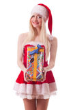 Portrait of  a young attractive sexy Santa girl Royalty Free Stock Image