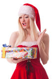 Portrait of  a young attractive sexy Santa girl Stock Photo