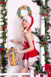 Portrait of  a young attractive sexy Santa girl Stock Images