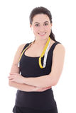 Portrait of young attractive sporty woman with measuring tape is Stock Photography