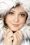Portrait of young attractive winter woman Stock Image