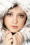 Portrait of young attractive winter woman Stock Photography
