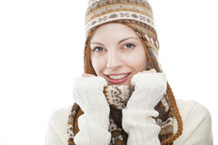 Portrait of a young attractive woman. With cap (bobble hat) and shawl Royalty Free Stock Image
