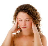 Woman massaging pain head Royalty Free Stock Images