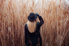 Portrait of young attractive woman in black coat and hat. Autumn landscape, dry grass. Look back. Holding the hat hand Stock Images