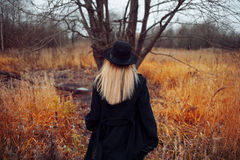Portrait of young attractive woman in black coat and hat. She goes through the field. Autumn landscape, dry grass. Look Stock Photo