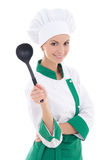 Portrait of young attractive woman chef with big plastic spoon  Royalty Free Stock Photos