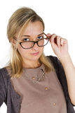 Portrait of a young attractive woman with glasses Stock Photos
