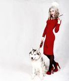 Portrait of a young attractive woman with a husky dog Royalty Free Stock Image