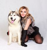 Portrait of a young attractive woman with a husky dog Stock Image