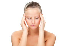 Woman massaging pain head Royalty Free Stock Photography