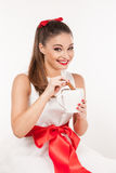 Portrait of young attractive woman with pinned-up ponytail with Stock Photo