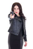 Portrait of young attractive woman posing with gun isolated on w Royalty Free Stock Image