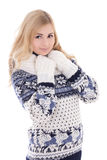 Portrait of young attractive woman posing in winter clothes isol Royalty Free Stock Image