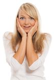 Portrait of young attractive woman surprised Stock Photo
