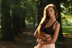Portrait of young attractive woman in the wood Royalty Free Stock Photos
