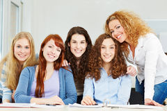 Portrait of young attractive women. Studying in university stock photos