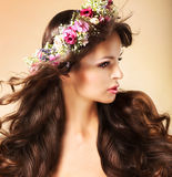 Portrait of Young Auburn Woman with Long Flowing Hairs and Wildflowers Stock Photography