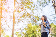Portrait of young backpacker woman Stock Photos