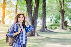 Portrait of young backpacker woman Stock Image