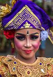 Portrait of Young Balinese traditional girl in Twin Lake Festival in Bali, Indonesia. June 2018. Portrait of Young Balinese traditional girl in Twin Lake royalty free stock images