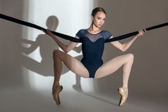 Portrait of the young ballerina in a studio Royalty Free Stock Images