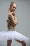 Portrait of young ballerina in white tutu Stock Image