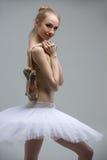 Portrait of young ballerina in white tutu Stock Image