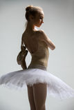 Portrait of young ballerina in white tutu Stock Photography