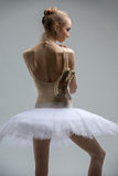 Portrait of young ballerina in white tutu Royalty Free Stock Image
