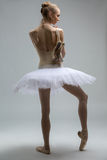 Portrait of young ballerina in white tutu Stock Photos