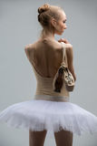 Portrait of young ballerina in white tutu Royalty Free Stock Photo