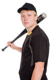 Portrait of a young baseball player with a bat Stock Images