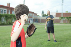 Portrait of a young baseball player in a field Royalty Free Stock Photo