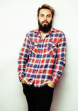 Portrait of young bearded hipster guy smiling on white background close up, brutal man, lifestyle people concept Royalty Free Stock Photography