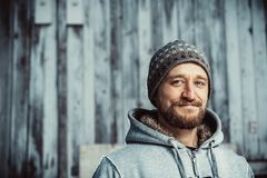 Portrait of a young bearded man royalty free stock photo