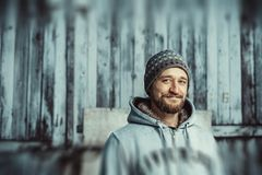 Portrait of a young bearded man stock photography
