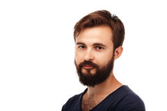 Portrait of a young bearded man isolated on white background Stock Photography