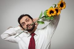 Portrait of a young bearded man with sunflowers. In his mouth Stock Photo