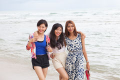 Portrait of young beautifu asian woman friend relaxing happy emo Stock Photos