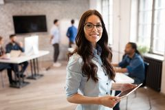 Portrait of young beautiful architect in office royalty free stock images