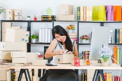 Young Asian business lady at office royalty free stock photos
