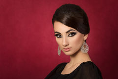Portrait of young beautiful asian woman with evening make-up Royalty Free Stock Image