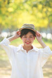 Portrait of young beautiful asian woman and straw hat Stock Image