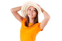 Portrait of a young beautiful asian woman in summer clothes - As Stock Photography