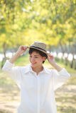 Portrait of young beautiful asian woman wearing straw hat with s Stock Photography