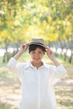 Portrait of young beautiful asian woman wearing straw hat Royalty Free Stock Photo