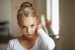 Portrait of young beautiful ballerina training. Beautiful young ballerina training, portrait Royalty Free Stock Photos